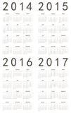 套欧洲人2014年2015年2016年, 2017本日历 库存图片