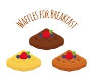 套比利时华夫饼干-巧克力、奶油和莓果 平的样式 图库摄影