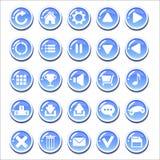 套比赛的蓝色玻璃状按钮连接 免版税图库摄影