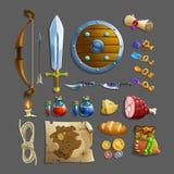 套比赛的项目 不同的食物、武器、魔药和工具 免版税库存图片