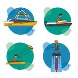 套水上运动动画片 免版税库存图片