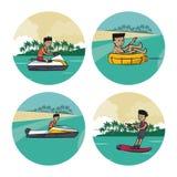 套水上运动动画片 库存图片