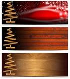 套水平的圣诞节横幅 免版税库存照片