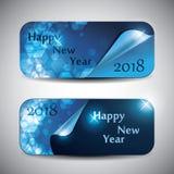 套水平的新年横幅- 2018年 免版税库存图片