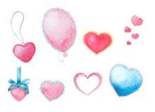 套水彩心脏和球 库存图片