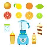 套汁液成份 搅拌器、搅拌器、瓶、杯子和玻璃 免版税库存照片