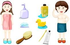 套沐浴与男孩和女孩 库存照片