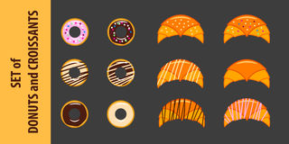 套油炸圈饼和新月形面包在平的样式 图库摄影