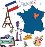 套法国的全国外形 图库摄影