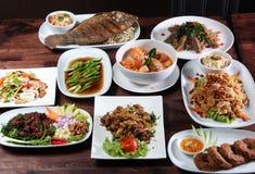 套泰国食物菜单 免版税库存照片