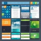 套流动app的平的设计ui元素和  库存照片
