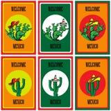 套海报欢迎向有墨西哥国旗、阔边帽、辣辣椒、maracas和很多仙人掌的图象的墨西哥 免版税库存照片