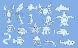 套海洋动物象,传染媒介例证 免版税库存图片