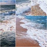 套海水和海岸图象,拼贴画fo旅游业和休闲例证 被定调子的颜色 免版税库存照片