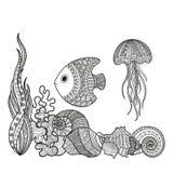 套海洋生物鱼 库存图片