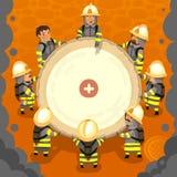 套消防员在工作 免版税库存图片