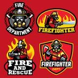 套消防队员徽章设计 库存例证