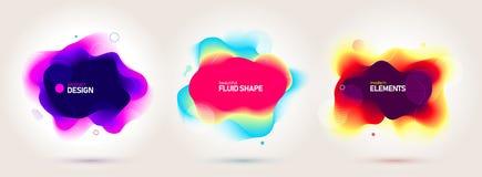套液体颜色摘要几何形状 最小的横幅的可变的梯度元素,商标,未来派社会的岗位 皇族释放例证