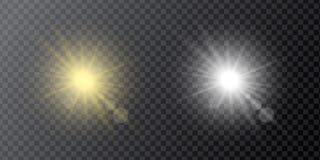 套淡黄色和白色作用反射器、星或者阳光 向量例证