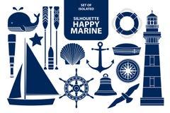 套深蓝的概述的剪影愉快的海军陆战队员 库存例证