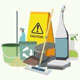 套清洁服务象征,标签和 向量例证
