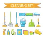 套清洗的工具的象 议院清洁 背景清洁布新的橙色海绵用品 平的设计样式 清洗的设计元素 传染媒介illustrati 库存图片