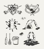 套清洁象征,徽章,标签 库存例证