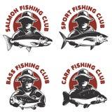 套渔俱乐部标记模板 渔夫剪影与 库存照片