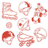 套溜冰鞋方形字体盔甲轮子 库存图片