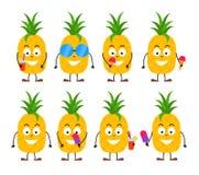 套滑稽的动画片夏天菠萝字符 库存例证