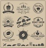 套烘烤商店、工艺啤酒、咖啡店商标和权威烙记的 库存例证