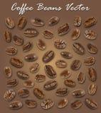 套烤咖啡豆元素传染媒介和阴影在棕色梯度背景 向量例证