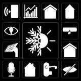 套热化,窗帘,把柄,家,声音控制,聪明的家, 库存例证