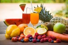 套热带水果五颜六色的新鲜的夏天汁液玻璃健康食物/许多成熟果子混杂在自然背景 库存图片