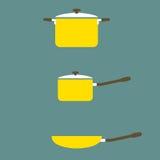 套烹调罐和平底锅 免版税库存照片