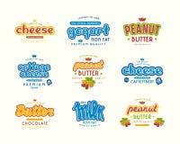 套牛奶、酸奶、花生酱和che的印刷标签 免版税库存照片