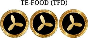 套物理金黄硬币TE-FOOD TFD 免版税库存图片