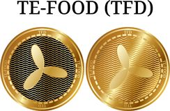 套物理金黄硬币TE-FOOD TFD 库存照片