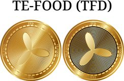 套物理金黄硬币TE-FOOD TFD 图库摄影