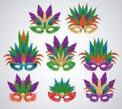 套狂欢节面具 皇族释放例证