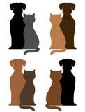 套狗和猫剪影 库存图片