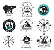 套狩猎商标、标签和设计元素2 免版税库存照片