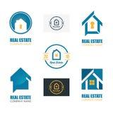 套现代房地产商标模板 创造性的抽象议院略写法象设计 向量例证