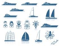 套现代游艇剪影 库存照片