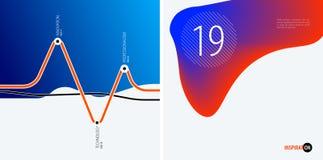 套现代设计摘要模板 与五颜六色的波浪的创造性的企业背景为促进,横幅排行 库存图片