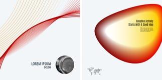 套现代设计摘要模板 与五颜六色的波浪的创造性的企业背景为促进,横幅排行 图库摄影