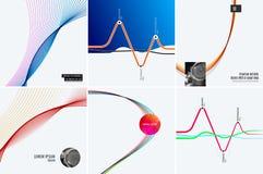 套现代设计摘要模板 与五颜六色的波浪的创造性的企业背景为促进,横幅排行 免版税库存图片