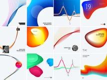 套现代设计摘要模板 与五颜六色的波浪的创造性的企业背景为促进,横幅排行 免版税库存照片
