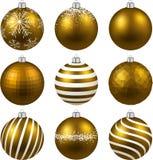 套现实金子圣诞节球 库存照片