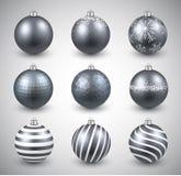套现实银色圣诞节球 免版税库存图片